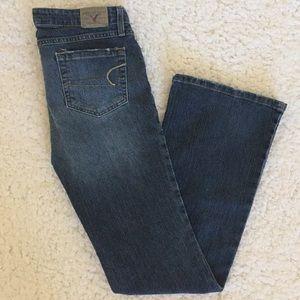 AE American Eagle Stretch Skinny Flare Jeans 8 L